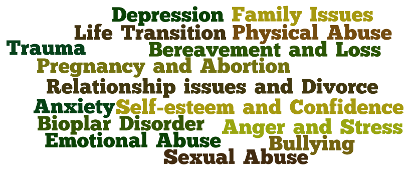 Emotional Abuse, Pregnancy and Abortion, Relationship issues and Divorce, Trauma, Anxiety, Bioplar Disorder, Self-esteem and Confidence, Bereavement and Loss, Physical Abuse, Sexual Abuse, Depression, Bullying, Anger and Stress, Family Issues, Life Transition